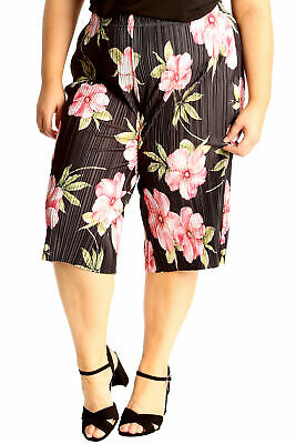 New Women Plus Size Culottes Ladies Shorts Crinkle Fabric Elastic Wide Leg Pants