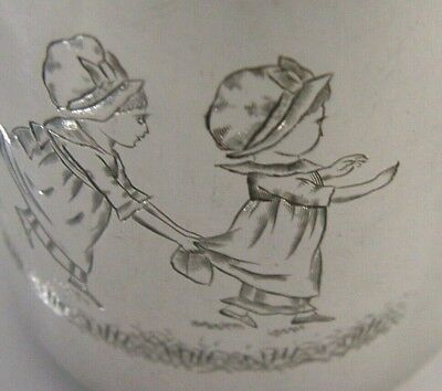 Kate Greenaway Victorian Solid Silver Child's Christening Cup Mug 1881 Antique
