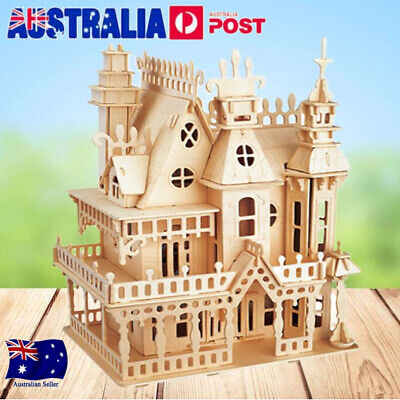"15"" Miniature Children DIY Wooden House Room Kits Play Toy Gifts Doll Handcraft"