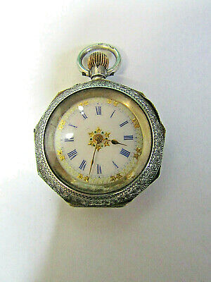 Beautiful Small Antique Swiss Made Solid Silver Top Wind Fob / Pocket Watch.