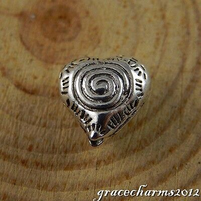 30x Vintage Silver Alloy Screw Heart Shape Pendants Findings Charms Crafts 50664