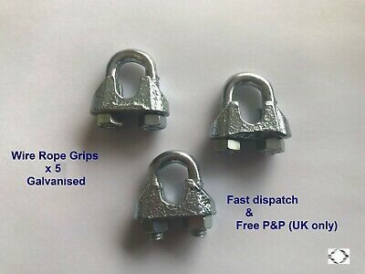 10 x 12mm Galvanised Wire Rope Bulldog U Bolt Grips for 10mm wire