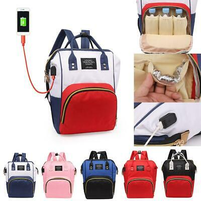 Mummy Maternity Baby Nappy Diaper Bag Backpack Changing Bags USB Port Han #SN