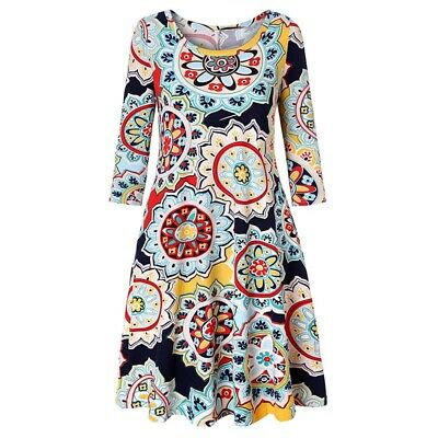 Floral Pockets Loose Sundress Summer Dress Party Printed Plus Size