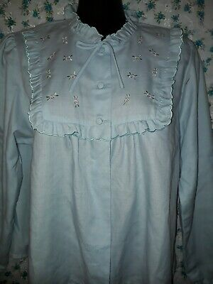 Vintage 80s Bed Jacket Pale Blue with Embroidery Size 14 Lady Lyn