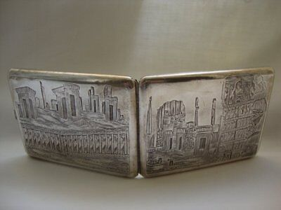 Antique Vintage 84 Silver Persian Cigarette Tobacco Case Darius Arabic Islamic