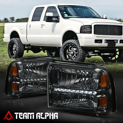 Fits 2005-2007 Ford F250/F350 SD <LED DRL> Chrome/Smoke Amber Corner Headlight
