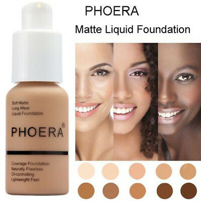 PHOERA Foundation Makeup Full Coverage Fast Base Brighten long-lasting Shade NEW