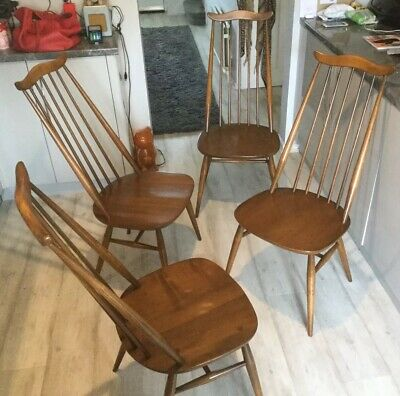 Set Of Four Retro Ercol Goldsmith Windsor Dining Chairs, Model 879