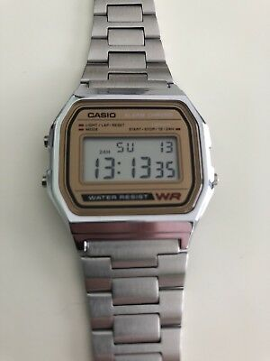 Casio A158WEA-9 Mens Stainless Steel Retro Style Digital Watch Micro Light Alarm
