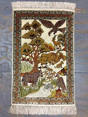 Old Vintage Handmade Turkish Silk Wall Rug Carpet Shabby Chic,Size:2.6 by 1.7 Ft