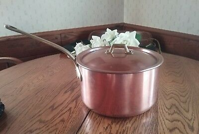 French Copper ~Heavy 6 Qt Copper Sauce Pan Hand Forged