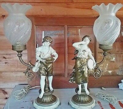 Boy and Girl  Art Nouveau  Spelter French Figural Newel Post Lamp Torchiere Pair