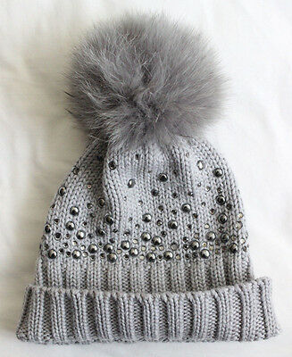 Regina Girl's Children's Grey Knit Sparkly Pom Pom Hat Good Used Condition