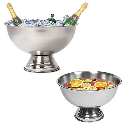 Large Metal Punch Bowl Drinks Party Ice Bucket Wine Beer Champagne Cooler Snacks