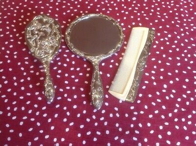 Pretty Art Deco Style Dressing Table Set  Brush Combe Mirror