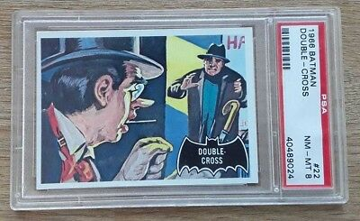 1966 Topps Batman Black Bat series 1 card - DOUBLE CROSS #22 - PSA 8 NM Mint