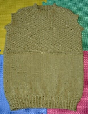 Hand Knitted Green Children's Vest Pullover 100% Merino Wool 3-4 years