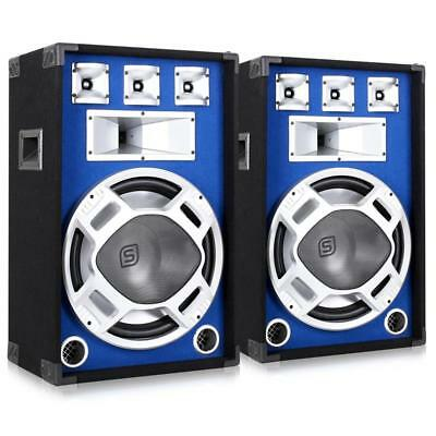 """1600W  Blue Led Disco Party Dj Pa Loudspeakers 15"""" Bass Driver 3-Way Mobile"""