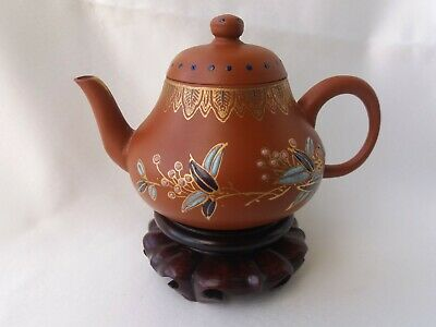 Chinese Yixing Zisha Antique Vintage Style Clay Pottery Teapot With Flora Paint