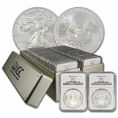 1986-2019   Silver American Eagle Set NGC (MS69) 2 NGC Boxes 34 coins total