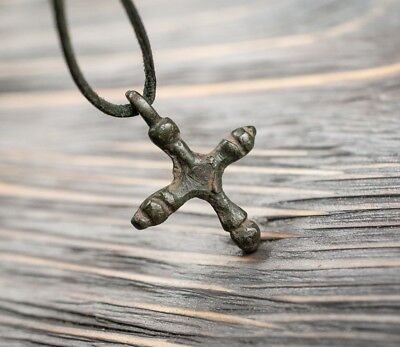 Antique Viking Era Pendant 10th-11th Century AD Bronze Decorated Medieval Cross