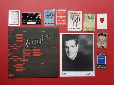 EAGLES,promo photo,8 Backstage passes,Guitar pick,1976 Tour book,ORIGANALS