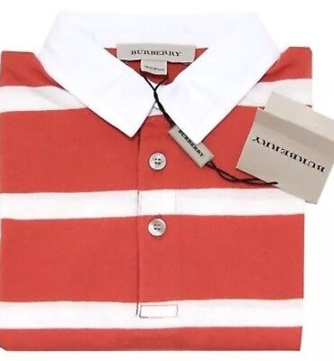 BURBERRY - BABY STRIPE CLASSIC LONG  SLEEVE POLO TOP - 6 Months  NEW /TAGS