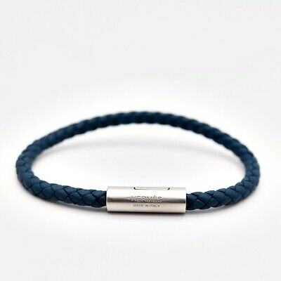 Hermes Goliath Bracelet Knitted Leather Blue Blue Accessories Small Ladies