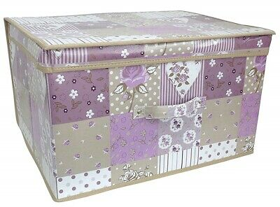 Children Foldable Pop Up Large Storage Chest Toy Book Box Tidy Purple Patchwork