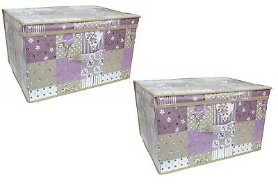2x Kids Foldable Pop Up Large Storage Chest Toy Book Tidy Box Purple Patchwork