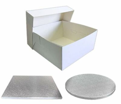 Single White Cake Box and Silver Board Pack - Thick Drum for Wedding, Party etc