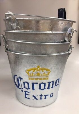 Corona Ice Bucket, Beer Bucket Galvanised With Bottle Opener. Party x 4