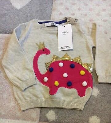Marks and Spencer Baby Girls Bunny Jumper - Size 9-12 Months