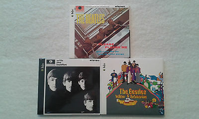 THE BEATLES 3 CD LOT PLEASE PLEASE ME WITH THE BEATLES YELLOW SUBMARINE Like New
