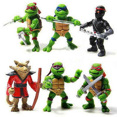 6pcs Teenage Mutant Ninja Turtles TMNT Collectible Action Figures Doll Kids Toy
