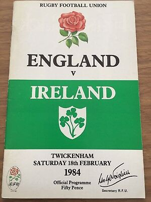England Vs Ireland Rugby Union Matchday Programme 18/02/1984
