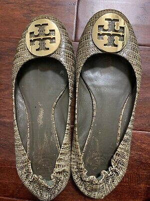 b84390ac8069 TORY BURCH OLIVE Green Snakeskin Print Ballet Flat US Size 8.5M ...