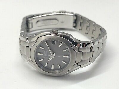 Citizen Ew1250-54a Ladies 180pr Stainless Grey Dial Date Eco-drive Gray Watch