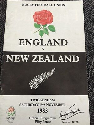 England Vs New Zealand Rugby Union Matchday Programme 19/11/1983