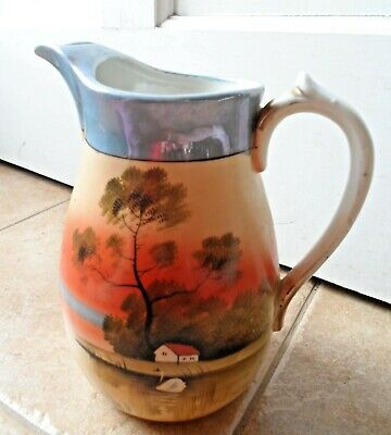 "Hand Painted TT Lusterware pitcher Japan 8 1/2"" lake cabin tree porcelain Takito"