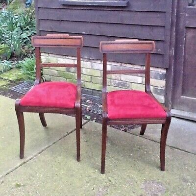 Pair Of Mahogany Bar Back Regency Dining Chairs Red Upholstery Sabre Legs