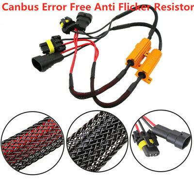 A Pair 9005/9006 LED DRL Fog Light Canbus Load Resistor Wiring Canceller Decoder