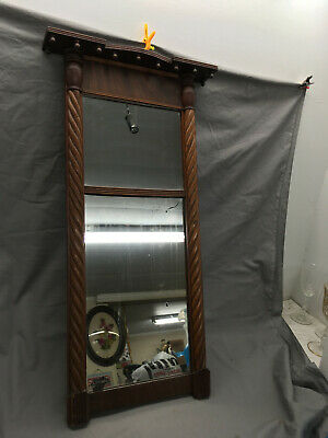 Antique Federal Mirror Double Mirror Hanging Early 1800's 32x13 {DD458}