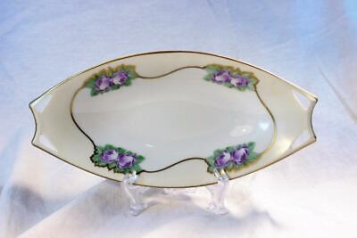 Antique HUTSCHENREUTHER Celery Dish Serving Purple Rose Floral Gold Oval Yellow