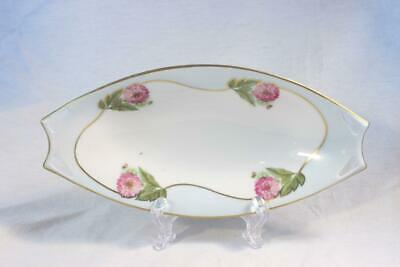 Antique HUTSCHENREUTHER Celery Dish Serving Blue Pink Floral Gold Oval BEAUTIFUL