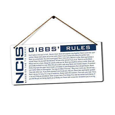 NCIS Gibbs' Rules - Metal Plaque Sign - TV Drama Crime Investigation Police Cops