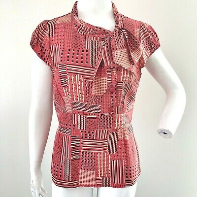2badb624da12e9 Odille Anthropologie Top Blouse Coral 100% Silk Fitted Cap Sleeve Bow Women  12