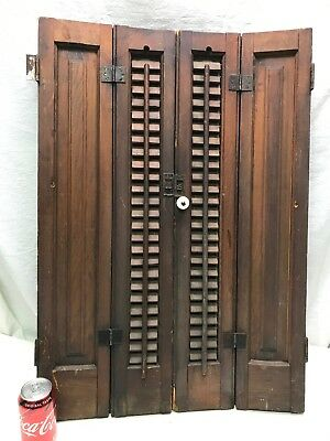 """Antique  Raised PANEL Louvers shutters   32"""" High X 22"""" Wide 1 1/8 Thick"""