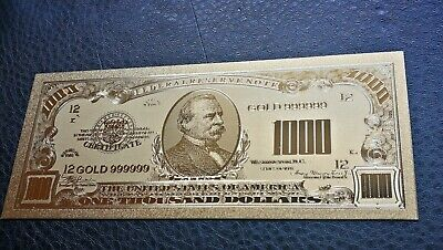 House Collectables Usa $1000 24K Gold Plated Dollar Banknote Gift Collectable